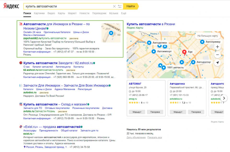 Результаты в Яндекс-Директ